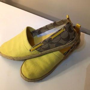 Coach yellow espadrille slipper